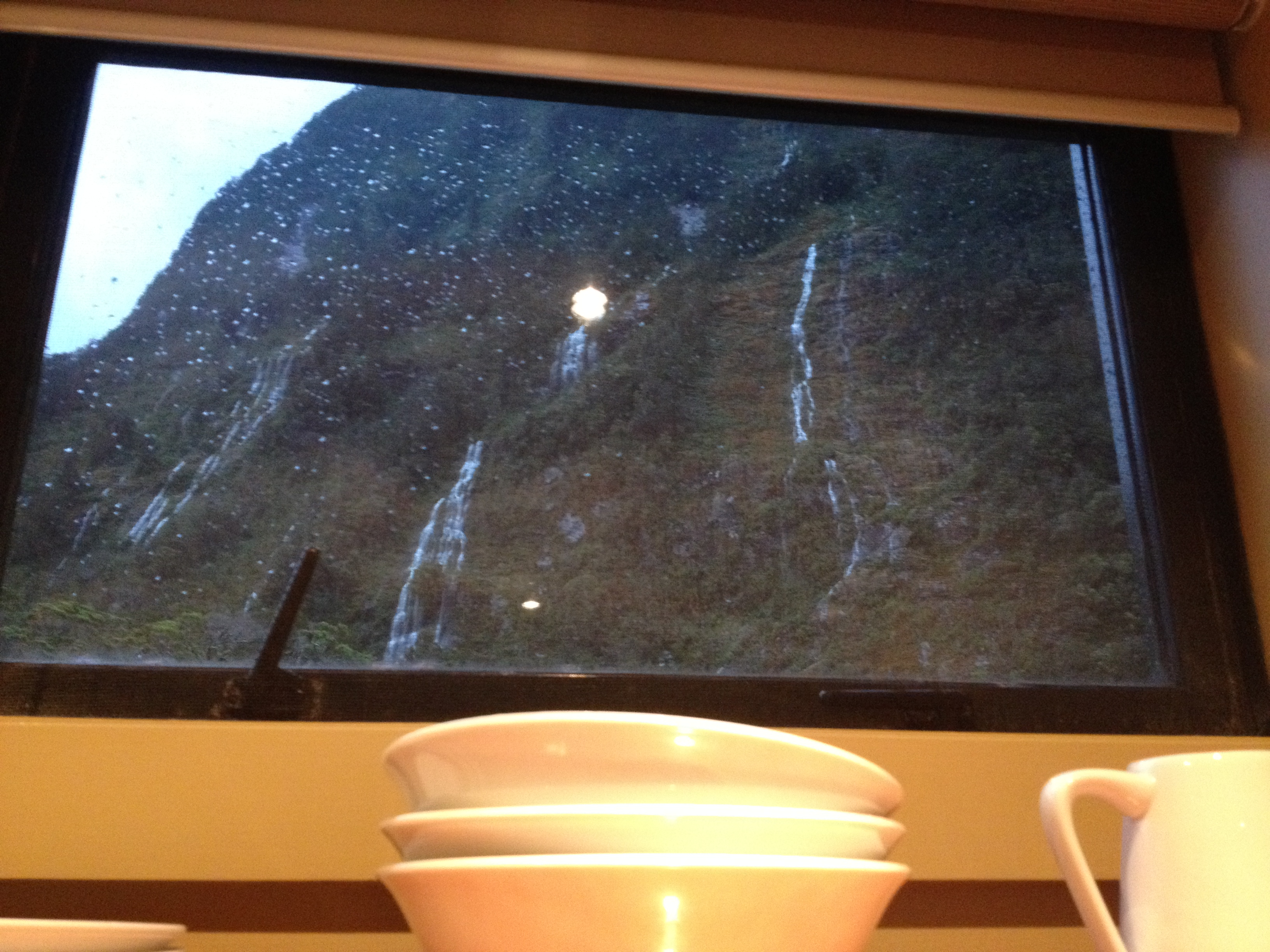 Kitchen view: waterfalls all around!