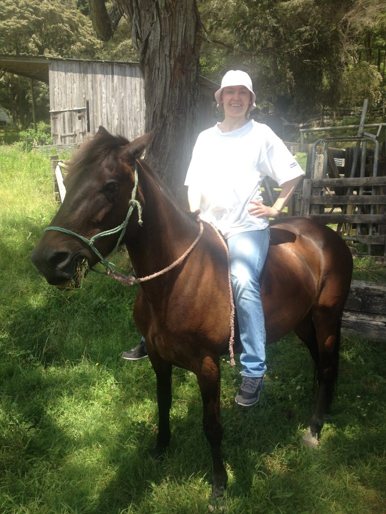 After the ride, in which I did use a saddle and helmet, I jumped back on for a quick pic!
